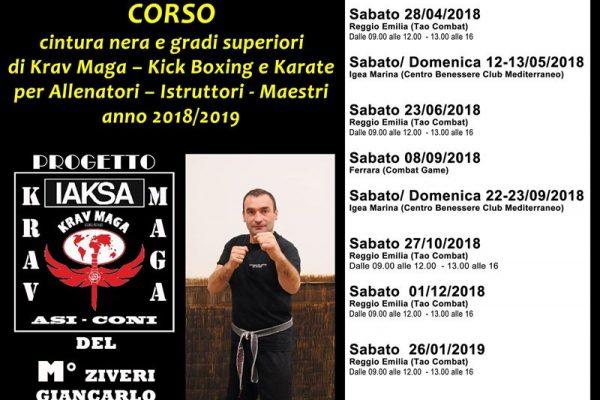Locandina corso Krav Maga con date del corso e luogo del maestro Giancarlo Ziveri