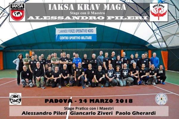 Stage Krav Maga Padova 2018 foto di gruppo con i maestri Alessandro Pileri Giancarlo Ziveri Paolo Gherardi  e allievi